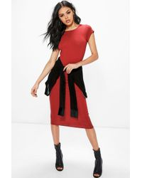 Boohoo | Cara Cap Sleeve Jersey Bodycon Midi Dress | Lyst