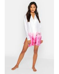 Boohoo Neon Palm Satin Nightshirt
