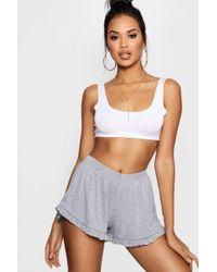 Boohoo - Ruffle Hem Flippy Shorts - Lyst