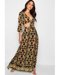 Boohoo - Scarf Print Tie Front Beach Co-ord - Lyst