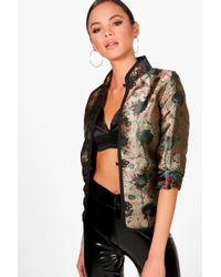 Boohoo - Mia Metallic Oriental Jacket - Lyst