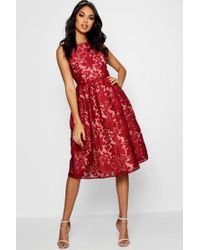 Boohoo - Boutique Embroidered Organza Skater Dress - Lyst