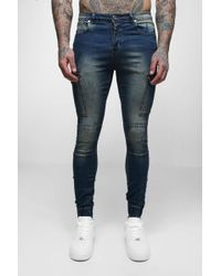 Boohoo - Super Skinny Cuffed Jeans With Pockets - Lyst