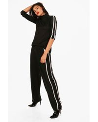 Boohoo - High Neck Sports Trim Knitted Set - Lyst