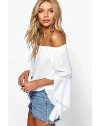 Boohoo - Fluted Frill Sleeve Off The Shoulder Top - Lyst