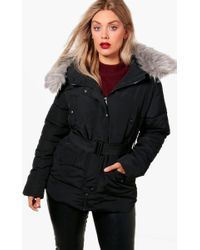 Boohoo - Plus Grace Fur Belted Padded Jacket - Lyst