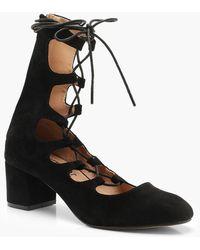 Boohoo - Block Heel Lace Up Ballet Court Shoes - Lyst