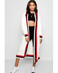 Boohoo - Chaise Maxi Sport Tipping Oversized Cardigan - Lyst