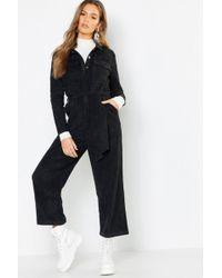 e61f5dbf73c ASOS Cord Wide Leg Belted Jumpsuit in Blue - Lyst