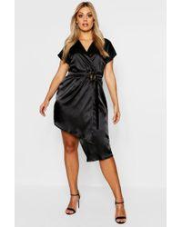 f312e2689 Boohoo Plus Puff Sleeve Wrap Mini Dress in Black - Lyst