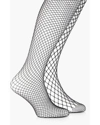 9f1ea3618 Boohoo Hannah Large Scale Footless Fishnet Tights in Black - Lyst