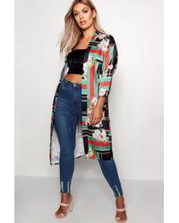 Boohoo - Plus Lollie Printed Woven Kimono - Lyst