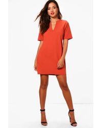 Boohoo - Becky Formal Boxy Clean Cut Shift Dress - Lyst
