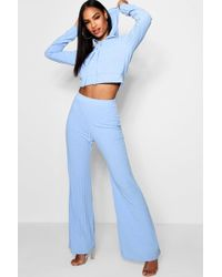 Boohoo - High Waisted Hoodied Knitted Set - Lyst