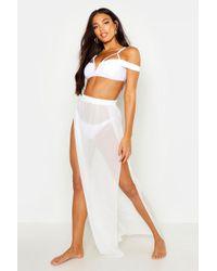 d6b76156a0335 Boohoo Net Maxi Beach Skirt in White - Lyst