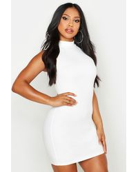Boohoo - Womens Sleeveless Funnel Neck Bodycon Dress - White - 2 - Lyst