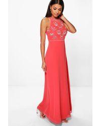 Boohoo - Boutique Floral Top High Neck Maxi Dress - Lyst