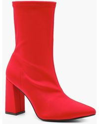 Boohoo - Stretch Pointed Toe Block Heel Sock Boots - Lyst
