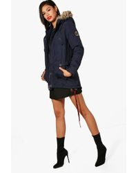 Boohoo - Quilted Parka With Faux Fur Hood - Lyst