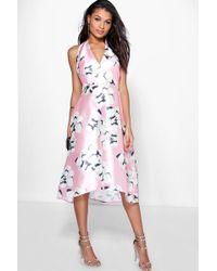 Boohoo | Taylor Floral Sateen Halterneck Skater Dress | Lyst