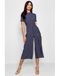 54aa9afef1c2 Lyst - Boohoo Brie Wrap Front Stripe Culotte Jumpsuit in Blue