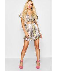 Boohoo - Paris Hilton Snake Print Satin Shorts - Lyst