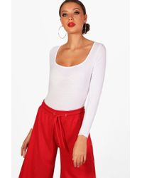 Boohoo - Tall Bella Square Neck Bodysuit - Lyst