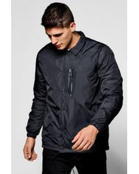 Boohoo | Black Coach Jacket With Ma1 Chest Zip | Lyst