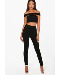 Boohoo | Tall Emily Off The Shoulder Crop & Trouser Co-ord | Lyst