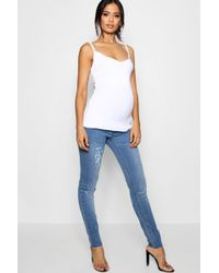 472905bc732c5 Boohoo Mid Rise All Over Ripped 7/8th Boyfriend Jeans in Blue - Lyst
