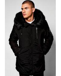 Boohoo - Ma1 Parka With Faux Fur Hood - Lyst