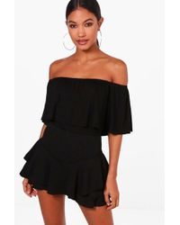 Boohoo - Basic Off The Shoulder Frill Crop Top - Lyst