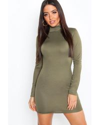 5c77c05378cda Lyst - Boohoo Crepe Roll Neck Long Sleeve Bodycon Dress in Natural