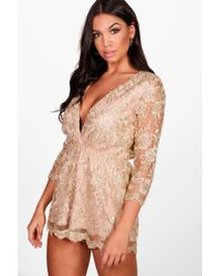 Boohoo | Allie All Over Embroidered Wrap Playsuit | Lyst