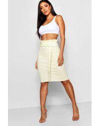 Boohoo - Gingham Crepe Paperbag & Tie Midi Skirt - Lyst