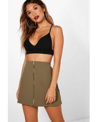 Boohoo - Abigail Zip Through A Line Mini Skirt - Lyst
