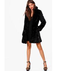 Boohoo - Boutique Elsie Rever Collar Faux Fur Coat - Lyst