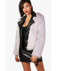 Boohoo - Boutique Faux Fur & Pu Biker Jacket - Lyst