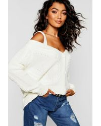 Boohoo - Cold Shoulder Cable Knit Cardigan - Lyst