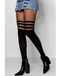 Boohoo - Sports Stripe Mock Hold Up Fishnet Tights - Lyst