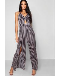 ca5bf953bcc Boohoo - Stripe Knot Front Detail Jumpsuit - Lyst