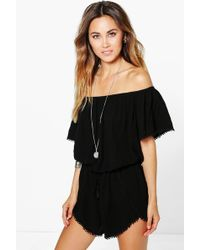 Boohoo - Crochet Trim Off The Shoulder Playsuit - Lyst