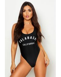 693c280a14763 Boohoo Miami Sun Bae Slogan Swimsuit in Black - Lyst