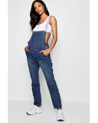 Boohoo - Sports Tape Cropped Slim Fit Denim Dungarees - Lyst