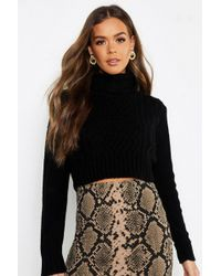 Boohoo Pastel Turtle Neck Cable Crop Jumper