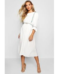 Boohoo - Embroidered Ruffle Sleeve Midi Dress - Lyst