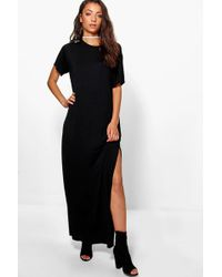 Lyst - Boohoo Alia Velvet Plunge Side Split Maxi Dress in Black dc960f7ec