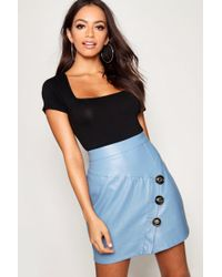 Boohoo - Mock Horn Button Diagonal Panel Leather Look Pu Mini Skirt - Lyst