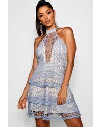 Boohoo - Eleanor Lace High Neck Skater Dress - Lyst