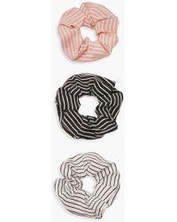 Boohoo Stripe Scrunchie 3 Pack